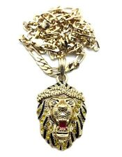 """New Iced Out LION FACE Hip Hop Pendant & 5mm/24"""" Figaro Chain Necklace MSP312"""