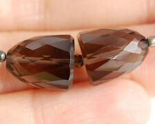 AAA Smoky Quartz Faceted Bullet Staight Drilled Beads Matched Pair