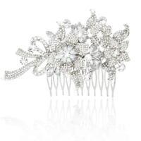 Bridal Wedding Party Hair Comb Clip Crystal Rhinestone Flower Fascinator