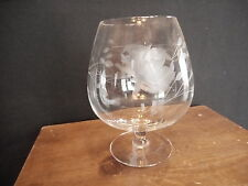 Etched BRANDY SNIFTER GLASS GLASSWARE Flower PATTERN Used...has some scratches