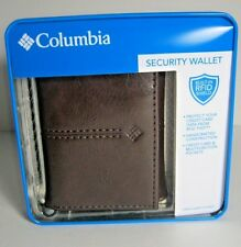 COLUMBIA Mens Leather Trifold Security Wallet Brown Prevent RFID NIB 31CP110004
