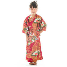 Age 6 to 7 Red Cotton Japanese Girls Kimono