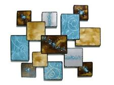 "Lovely Turquoise and Brown ""Laguna Square"" Wood Wall Sculpture hanging by Alisa"