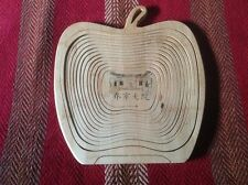 Handcrafted Collapsable Scroll Saw Art Basket Apple Design With Asian Drawing