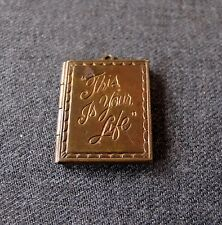 ANTIQUE THIS IS YOUR LIFE MONOGRAM SPACE BOOK SHAPED PHOTO LOCKET PENDANT FOB