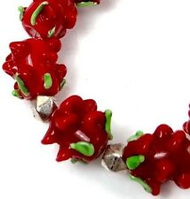 Lampwork Handmade Glass Beads Red  Rose Floral Beads (9)