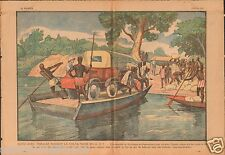 Auto Voitures Trencar Bacs Passage Burkina Faso A.O.F. Africa 1930 ILLUSTRATION