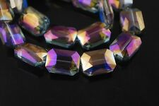5pcs 26X18mm Faceted Rectange Crystal Glass Majhong Loose Beads Purple Colorized