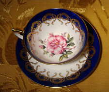 AYNSLEY TEA CUP & SAUCER CABBAGE ROSE CENTER IN COBALT BLUE & GOLD ENGLAND