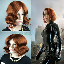 Black Widow beautiful dark Brown Short Curly Women's party Full Wavy Hair Wigs