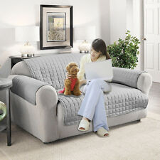 2-SEATER SOFA ARM SETTEE PET PROTECTOR SLIP COVER FURNITURE THROW LIGHT GRAY