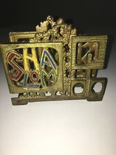 Napkin Holder Hebrew Word Shalom Brass Made in Israel,Enamel Jewish Holiday שלום