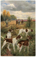 SCèNE DE CHASSE.CHIENS.CHASSEURS.HUNTING DOGS.HUNTERS.