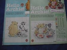 MARGARET SHERRY ADORABLE ARCHIE BEAR MESSY SPAGHETTI/GOAL  CROSS STITCH CHART