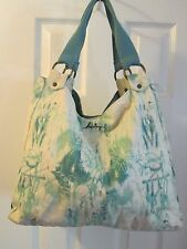 HURLEY Canvas Tote Bag Blue Cream Abstract Graphic Watercolor Paint Splatter