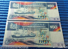 Singapore Ship Series $50 Note C/50 208833-208834 Run 2X Dollar Note Currency