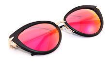 Women's Sunglasses Cat Eye Red Mirrored Len Vintage 50s Matte Black & Gold Frame