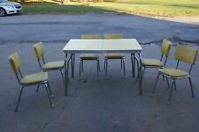 Vintage Chrome Table and 6 Chair Set Yellow w/Formica Top