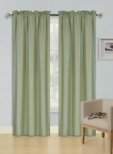 "2 PANEL SAGE GREEN  LINED BLACKOUT WINDOW CURTAIN ROD POCKET DRAPE R64 84"" L"