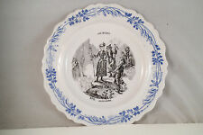 Antique Creil Montereau France Les Sports Blue Transfer Plate No 9 Alpinsme