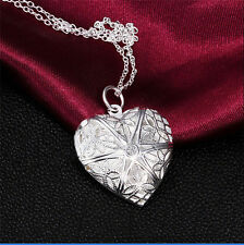 Women's Chic Silver Open Heart Charms Pendant Necklace Photo DIY Gift