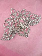 N73 Silver Applique Crystal Rhinestone Metal Back Embellishment 4""