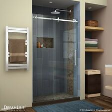 "DREAMLINE ENIGMA AIR 44""-48"" X 76"" SLIDING SHOWER DOOR, 3/8"" CLEAR GLASS/BRUSHED"