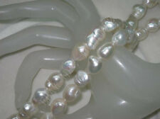 """Natural 12-14mm white luster baroque freshwater pearls Loose Bead 15"""""""