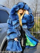 NEW 2017 SILVER BLUE FOX FUR COAT HOOD CLAS OF CHINCHILLA SABLE JACKET MINK LYNX