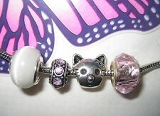E189 European Charm Beads  Pink Faceted Silver Cute Kitty Love Cat's Eye
