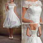 White/Ivory Lace Vintage Short Wedding Dress/Prom Gown Size6 8 10 12 14 16 18 20