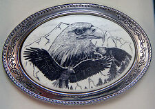 Belt Buckle Barlow  Scrimshaw Carved Painted Art Eagle Portrait Western 592689