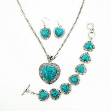 Antique Silver Plated Heart Turquoise Necklace Bracelet Earrings Jewelry Set