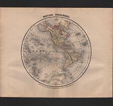 Landkarte map 1865: Westliche Erdhalbkugel. Erde Amerika Süd-Amerika Australien