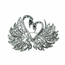GORGEOUS 18K WHITE GOLD PLATED AND GENUINE AUSTRIAN CRYSTAL TWO SWAN BROOCH