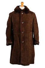 Sheepskin Coat Suede Leather Bomber Flying Jacket Aviator Fur Lined Size XL-C409