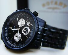 ROTARY SWISS Watch Mens Black Stainless Steel Chronograph,WR 100m VGC RRP £180