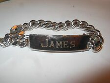 Mens Boys Vintage Sterling & Stainless ID Bracelet Cuban Wide Heavy Chain JAMES
