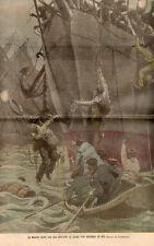 BATEAU MOUSSE SAUVE DES EAUX SAILMAN SAVED FROM DROWING BOAT IMAGE 1905 PRINT