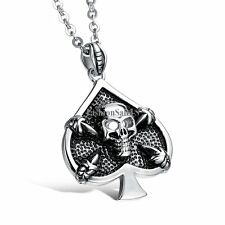 Men's Stainless Steel Necklace Vintage Spades Shape Hollow Skull Pendent