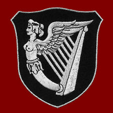 "IRISH HARP  IRELAND WINGED MAIDEN ERIN EMBROIDERED IRON-ON PATCH SILVERY 3.75""H"