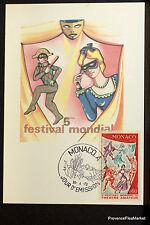 THEATRE AMATEUR 1973 CARTE MAXIMUM MONACO Premier Jour 1° FDC Yt 927