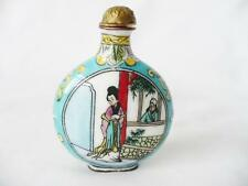 Vintage Oriental Chinese Snuff Bottle / Enamel Decoration Over Copper