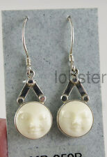 SAJEN HAND CARVED GODDESS MOON FACE EARRINGS Modern Sterling Silver Dangle Hook