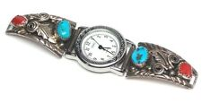 Old Pawn Navajo Handmade Sterling Silver Turquoise & Coral Watch