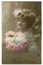 1910's Glamour Glamor SMILING BEAUTY tinted photo postcard