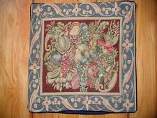 Tapestry Throw Pillow Victorian, HARVEST BLUE 20x20