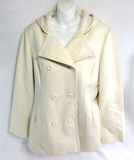 Anne Klein White Wool Double Breasted Women's Jacket Hood Classy Coat Size Large