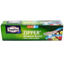 (0,31€/Beutel) Toppits Zipper Allzweckbeutel 1L mit Reißverschluss 12 Stück