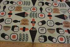 Japanese Seafood Sushi Time Toss Pack Allover Cotton Flannel Fabric BTY